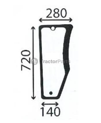 Стъкло предно дясно (долна част, плоско, тонирано) - John Deere 5010F, 5015V серия
