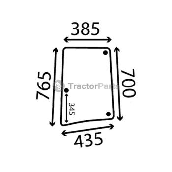 Стъкло странично ляво (извито, тонирано) - John Deere 6000, 6010 серия