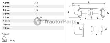Изпускателен колектор - Massey Ferguson 3200, 3300 серия